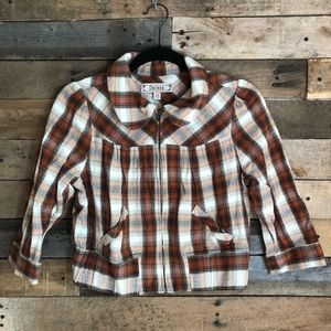 Decree plaid print 3/4 sleeve zip up jacket